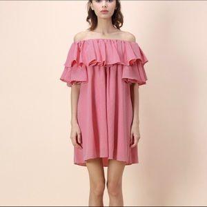 S/M gingham off the shoulder dress